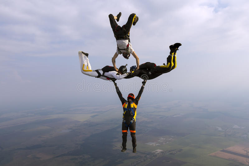 Skydiving photo. Group collects figure skydivers in freefall stock photos