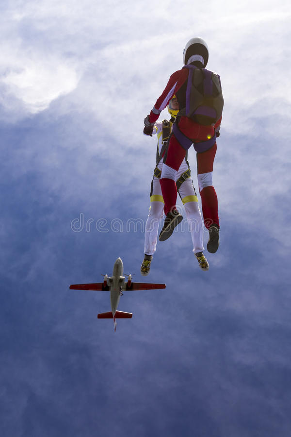 Skydiving photo. Two girls in free fall royalty free stock photos