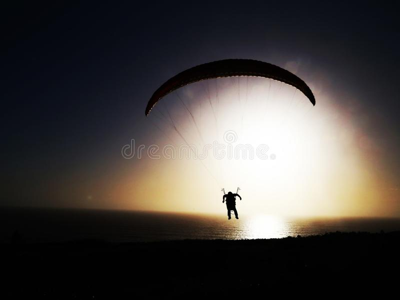 Skydiving in San Francisco stock images