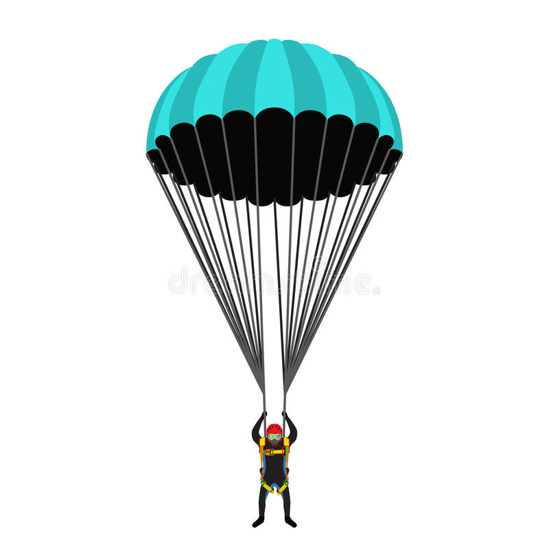 Skydiving school, academy set. Parachute pack, skydiver in flat royalty free illustration