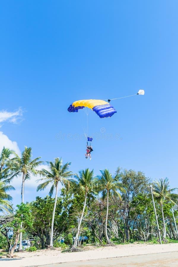 Skydiving Tandem Parachute Beach Landing stock photo