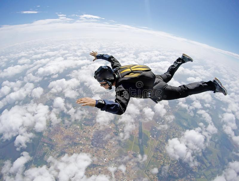 Skydiving tandem cloud day stock images