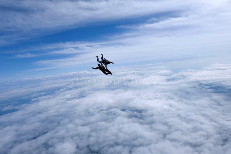 skydiving Tv? skydivers ?r flyingin himlen royaltyfri bild