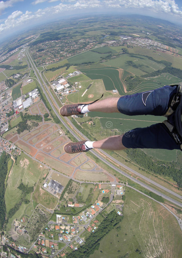 Skydivingsstandpunt van mijn losgeknoopte schoenen royalty-vrije stock afbeeldingen