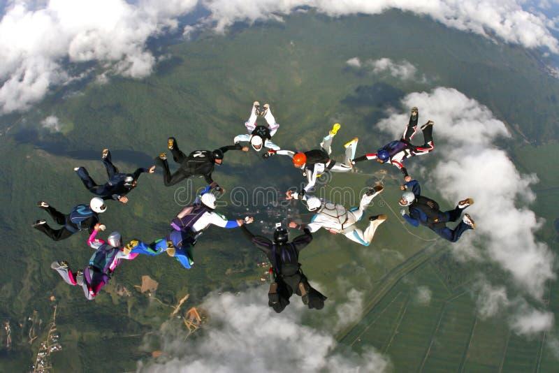Skydivingsvorming royalty-vrije stock afbeeldingen