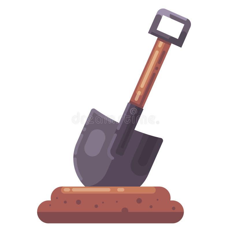 Skyffel som klibbas i jordningen gräva ett hål framlänges royaltyfri illustrationer