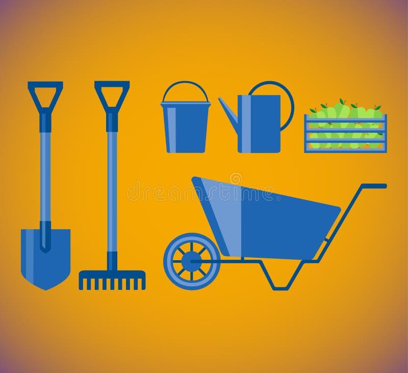 Skyffeln krattar, ösregnar, stänket och skottkärran och träasken med äpplen för trädgård Ställ in för att arbeta i trädgården Pla vektor illustrationer
