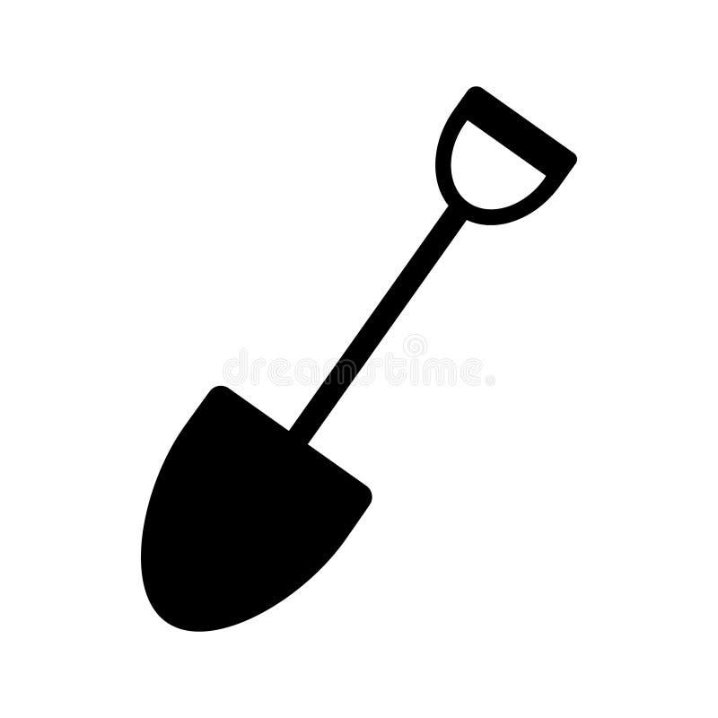 Skyffelvektorsymbol Arbeta i trädgården illustrationsymbol Tecken eller logo för konstruktionsutrustning royaltyfri illustrationer