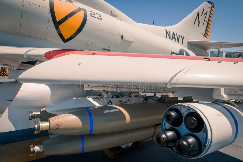 A-4 Skyhawk attack plane on board USS Midway aircraft carrier museum at the San Diego Harbor California clear summer day. The USS midway is a retired aircraft stock photo