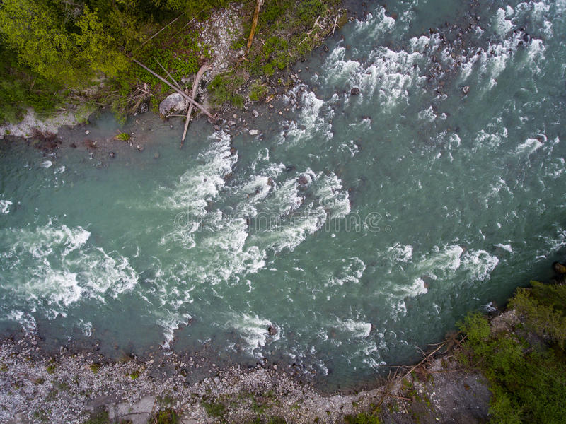 Skykomish River. The Skykomish River as seen from the air in the northwestern Washington state stock photography