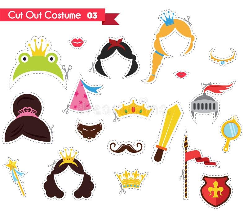 Skyla över brister snittet ut för ungar med prins- och prinsessatema användas som kan stöttor för ett theamed parti stock illustrationer