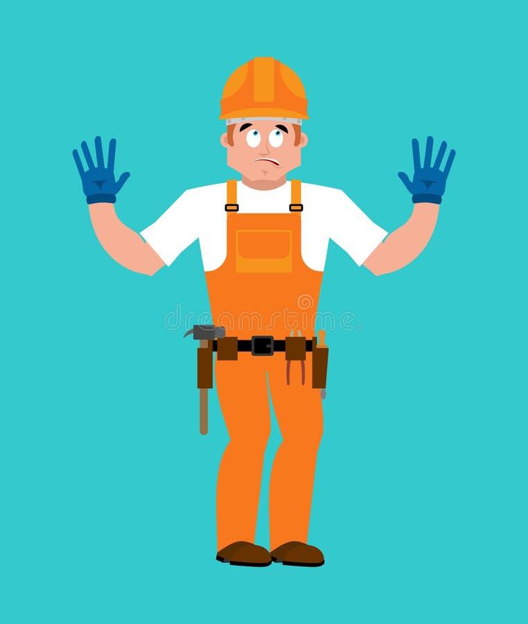 Skyldig byggmästare oops Arbetare i den skyldiga skyddande hjälmen Service stock illustrationer