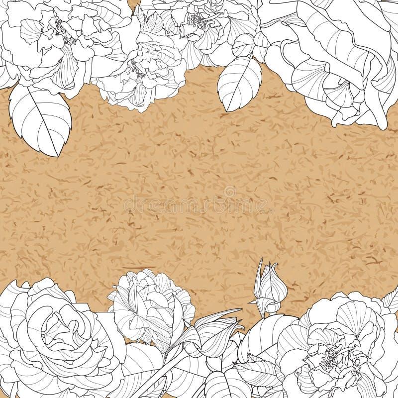 Skyler över brister blom- bakgrund för vektortappning med handen drog rosblommor och hantverket stock illustrationer
