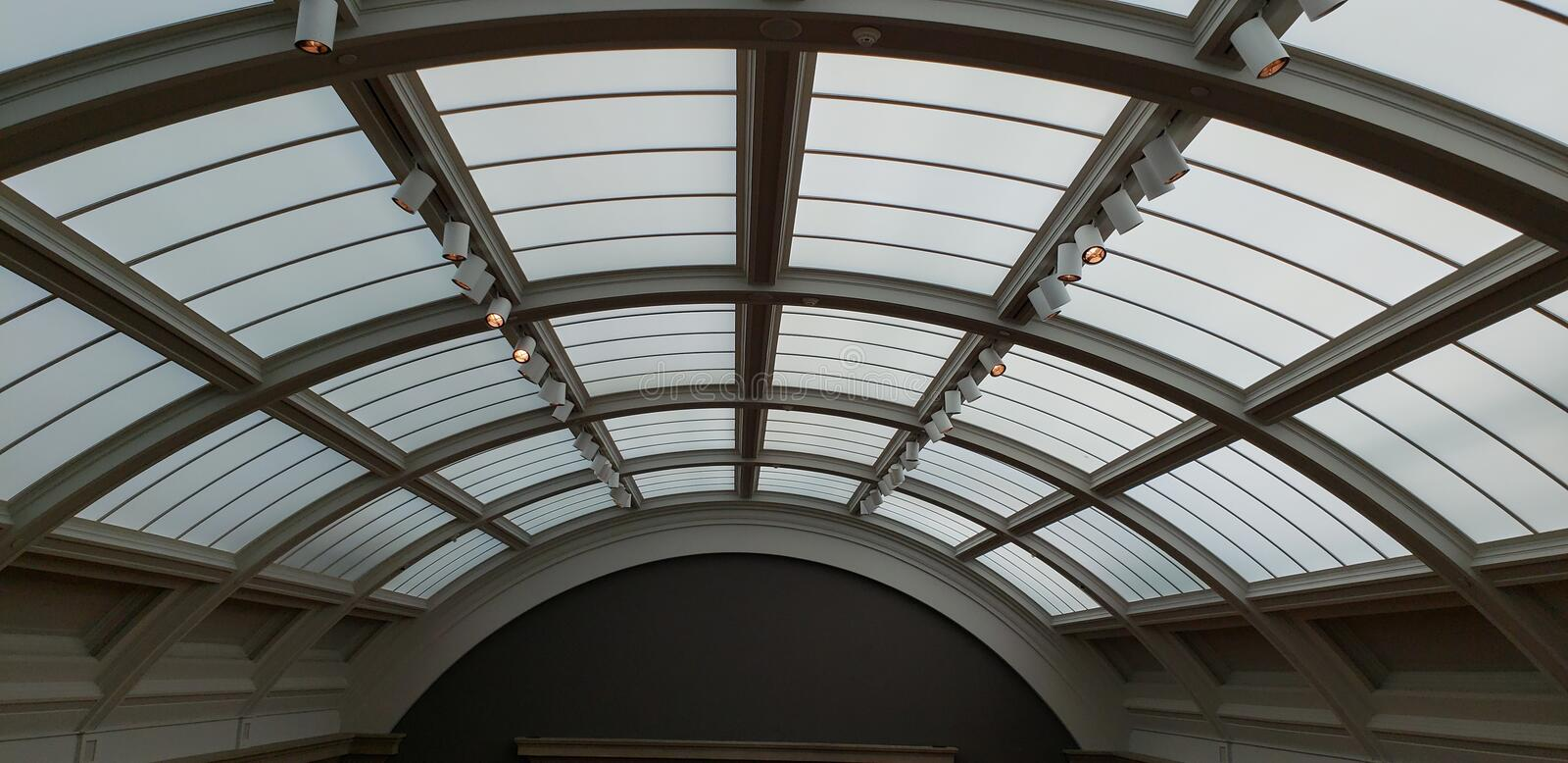 Modern ceiling skylight with frosted glass in the Cleveland Museum of Art stock photography