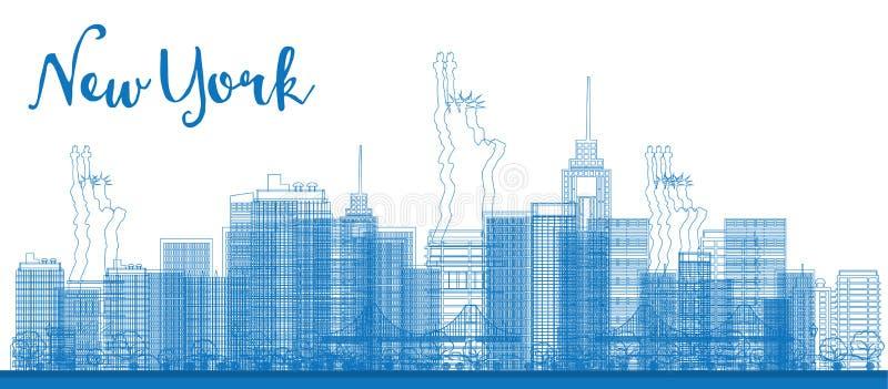 Skyline abstrata de New York City do esboço com arranha-céus ilustração stock