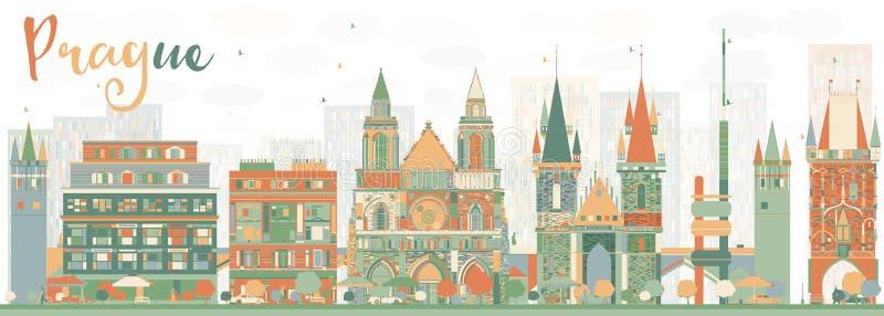Skyline abstrata de Praga com construções da cor ilustração stock