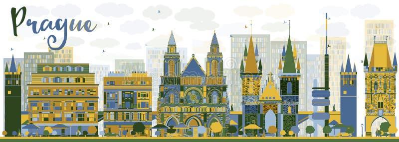 Skyline abstrata de Praga com marcos da cor ilustração royalty free