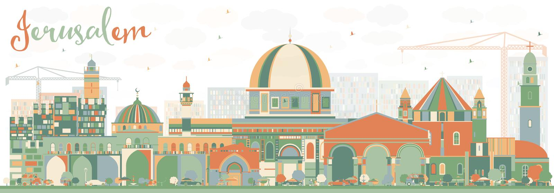 Skyline abstrata do Jerusalém com construções da cor ilustração stock