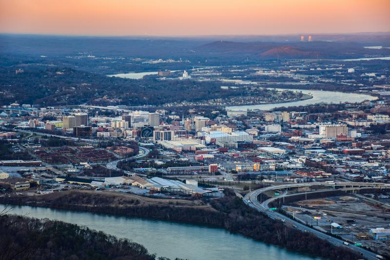 Skyline Aerial of Downtown Chattanooga, Tennessee, TN, USA. Drone Aerial of Downtown Chattanooga Tennessee TN skyline from Point Park and Lookout Mountain stock image