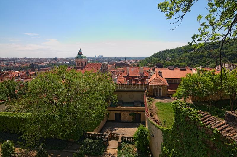 Skyline aerial view of old town Prague, ancient buildings and red tile roofs. Prague. Czech Republic royalty free stock photography