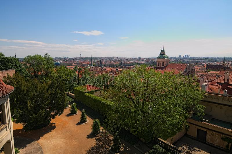 Skyline aerial view of old town Prague, ancient buildings and red tile roofs. Selective focus with wide angle lens royalty free stock photo