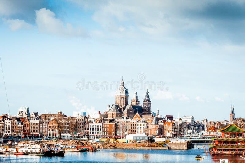 Skyline Amsterdam lizenzfreie stockbilder