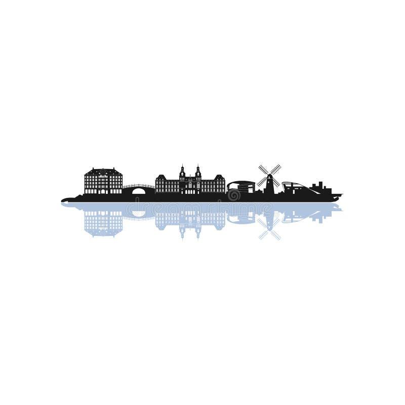 SKYLINE AMSTERDAM NETHERLAND. Logo design isolated on white background vector illustration