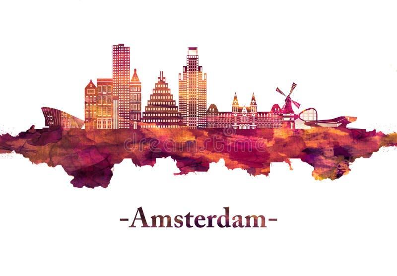 Skyline Amsterdams die Niederlande im Rot vektor abbildung