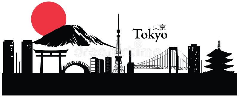 Skyline/arquitetura da cidade do Tóquio ilustração do vetor