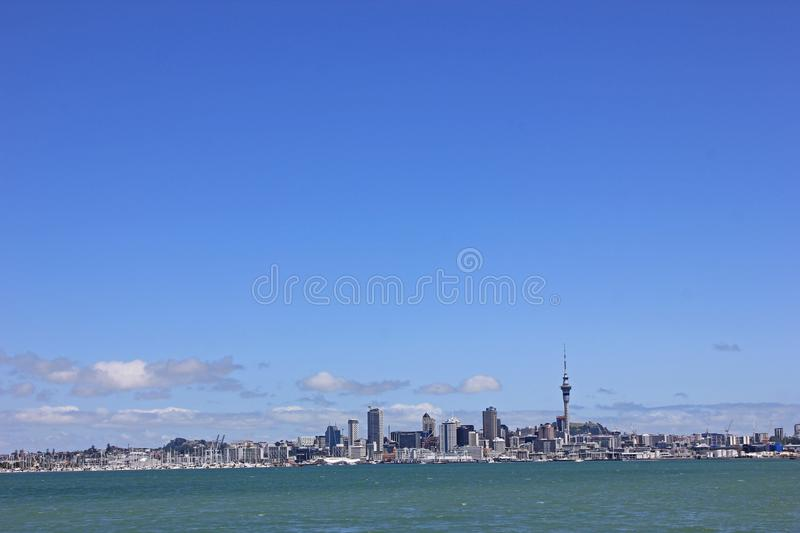 Skyline of Auckland in New Zealand stock images