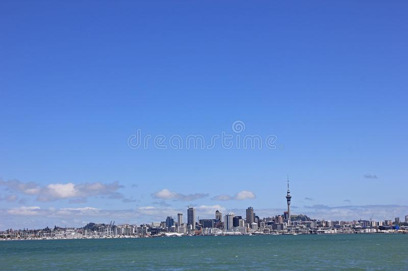Skyline of Auckland in New Zealand royalty free stock image