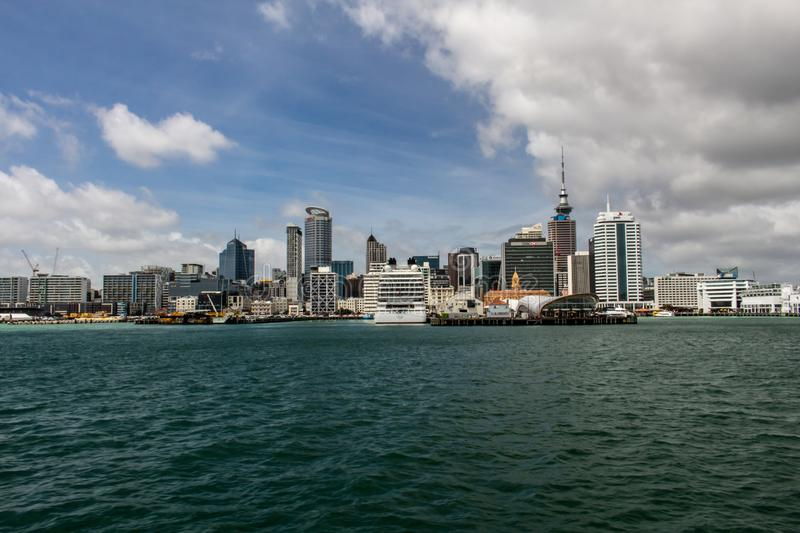 Skyline of Auckland, North Island, New Zealand stock images