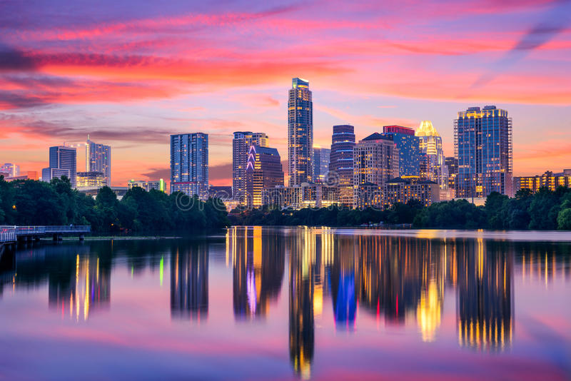 Skyline Austin-, Texas stockbilder