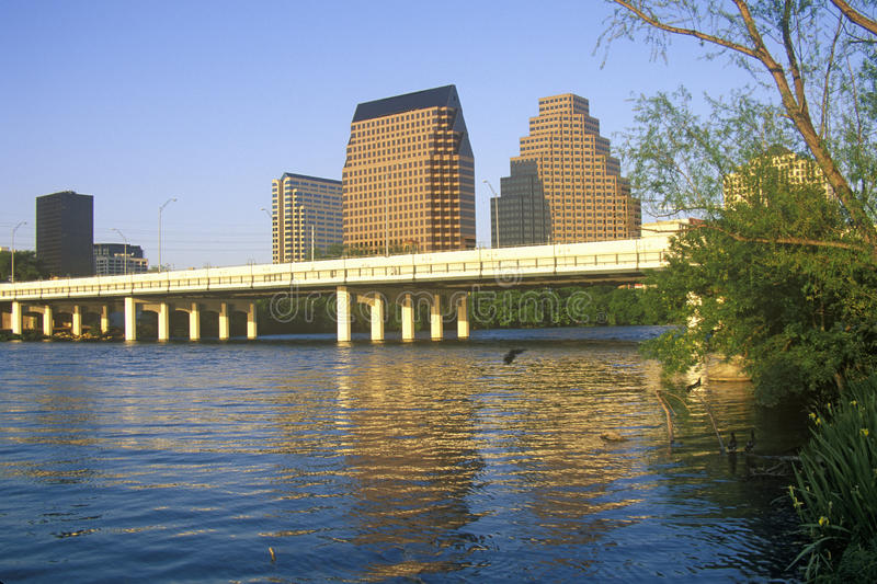 Skyline of Austin, TX, state capitol with Colorado River in foreground royalty free stock photo