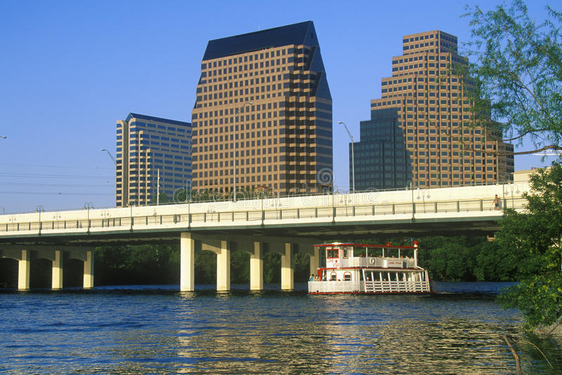 Skyline of Austin, TX, state capitol with Colorado River in foreground royalty free stock photos