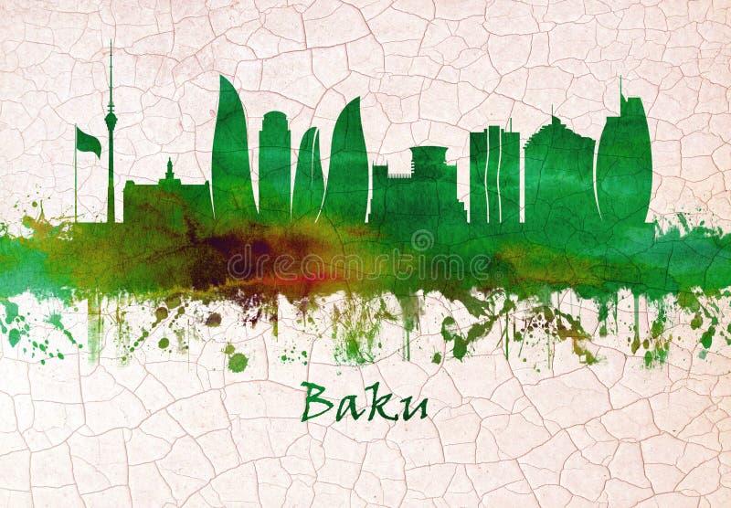 Baku Azerbaijan skyline royalty free illustration