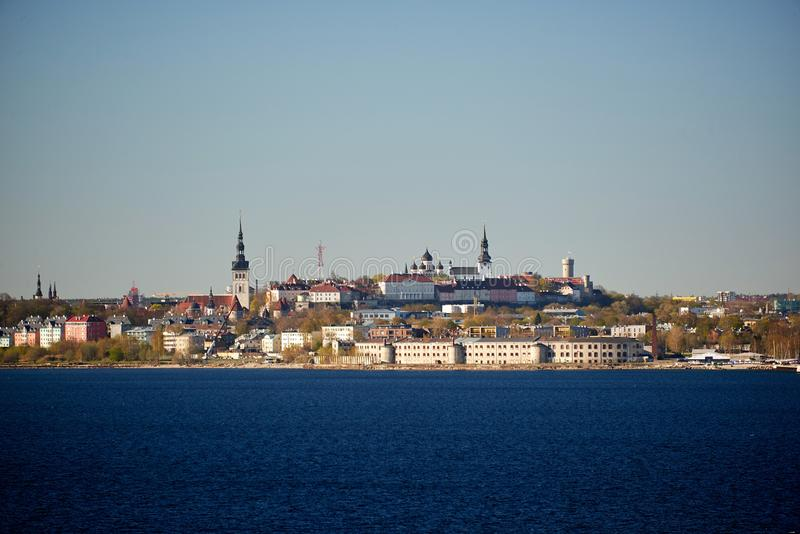 skyline of baltic capital of estonia Tallinn stock photography