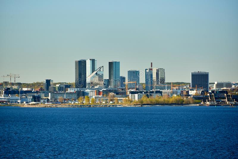Skyline of baltic capital of estonia Tallinn. Aerial, ancient, architecture, buildings, castle, church, city, cityscape, cruise, daytime, destination, downtown stock photography