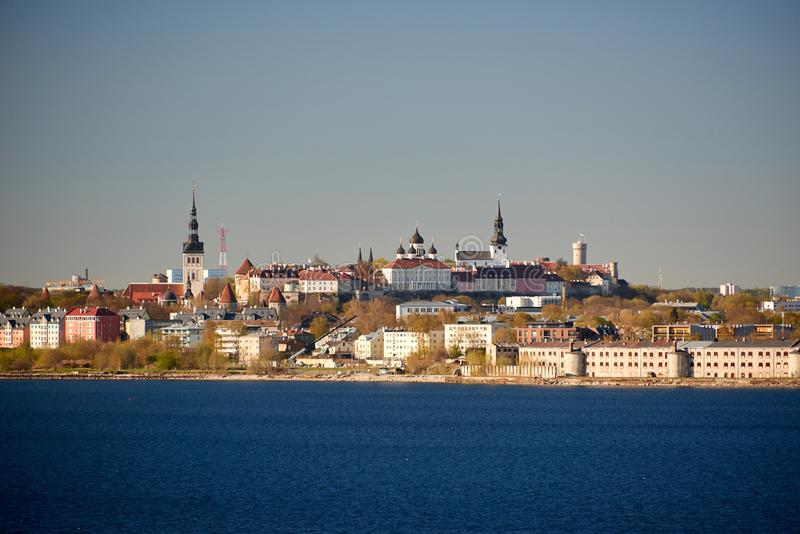 Skyline of baltic capital of estonia Tallinn. Aerial, ancient, architecture, buildings, castle, church, city, cityscape, cruise, daytime, destination, downtown royalty free stock photography
