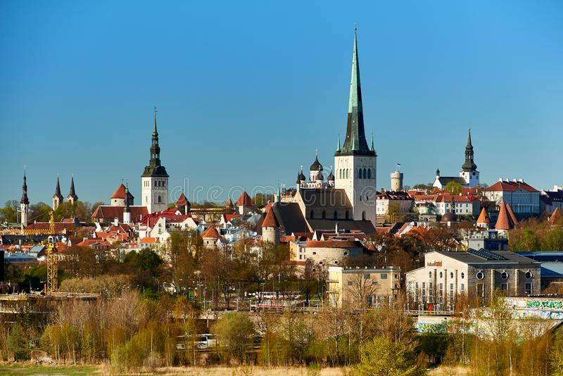 Skyline of baltic capital of estonia Tallinn. Aerial, ancient, architecture, buildings, castle, church, city, cityscape, cruise, daytime, destination, downtown royalty free stock images