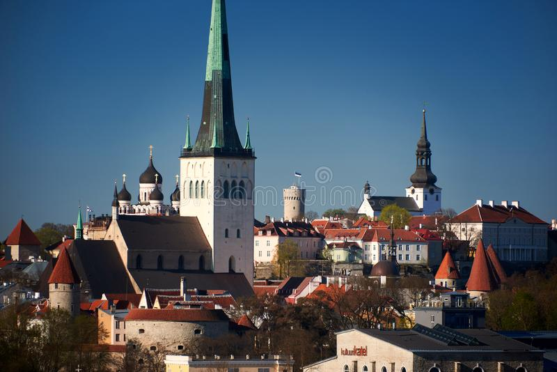 Skyline of baltic capital of estonia Tallinn. Aerial, ancient, architecture, buildings, castle, church, city, cityscape, cruise, daytime, destination, downtown royalty free stock photos