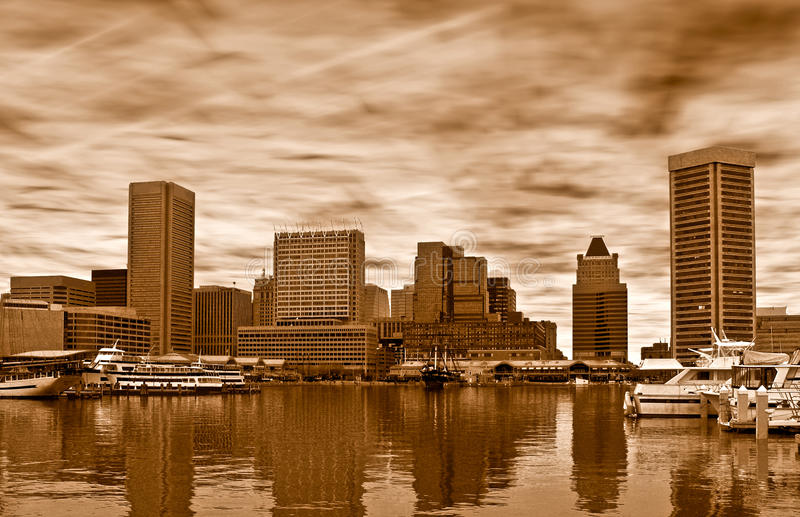 Skyline of Baltimore in sepia, royalty free stock photo