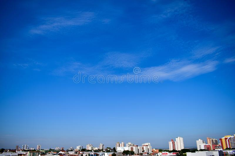 Skyline from Bauru, Brazil Blue sky with clouds. Skyline and Blue sky with clouds in Bauru, São Paulo, Brazil during summer stock photo