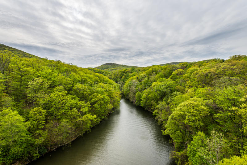 Skyline of Bear Mountain State park From Fort Montgomery in Upstate New York.  stock photo