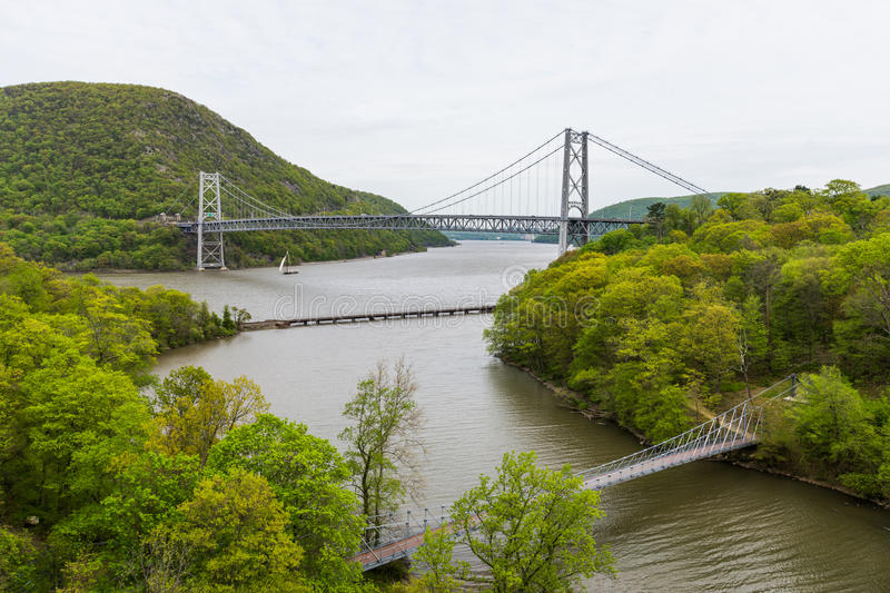Skyline of Bear Mountain State park From Fort Montgomery in Upstate New York.  royalty free stock photos