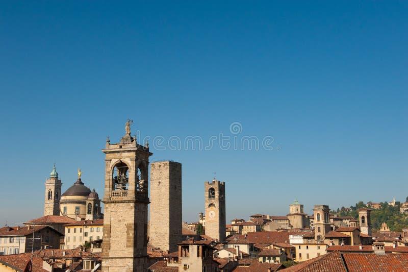 Skyline of Bergamo stock photos
