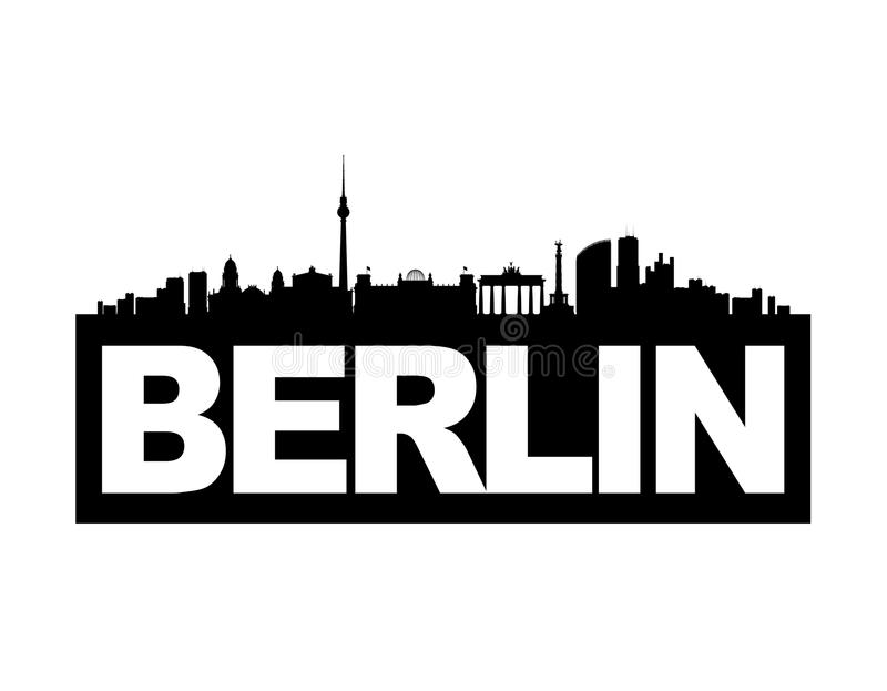 Skyline Berlin. The skyline of Germany's capital Berlin with the city's name on it's base. This vector-illustration is black and white and isolated stock illustration