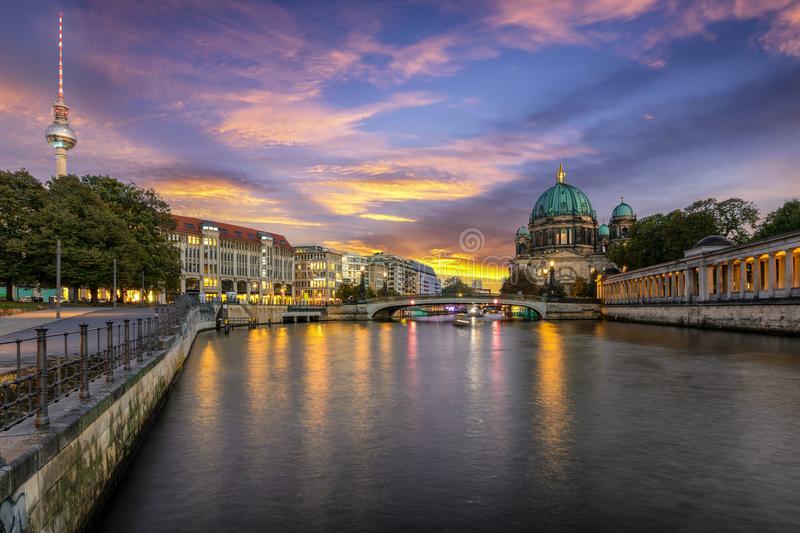 The skyline of Berlin during sunset time stock images