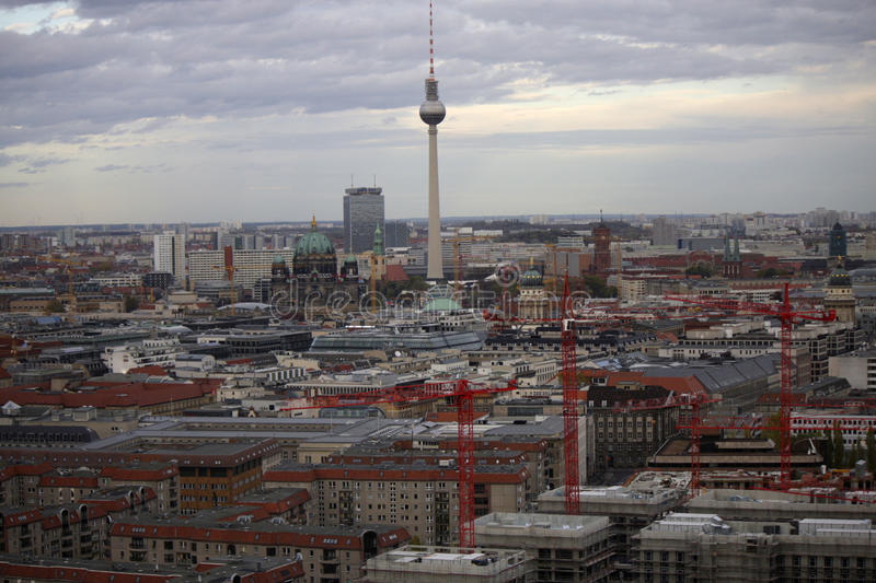 Skyline Berlin. CIRCA OCTOBER 2013 - BERLIN: aerial view: the skyline of Berlin Mitte with the television tower, Cathedral and other landmarks stock images