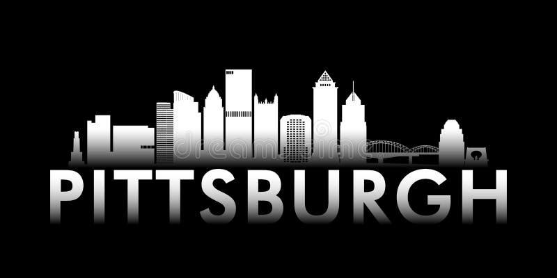 Skyline branca da cidade de Pittsburgh no fundo preto ilustração stock